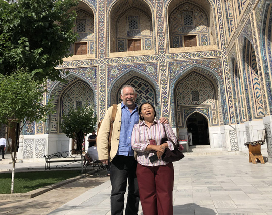 Professor Tim Williams and Dr. Bakyt Amanbaeva. Ulugbek Madrassa. Samarkand, Uzbekistan. 2019
