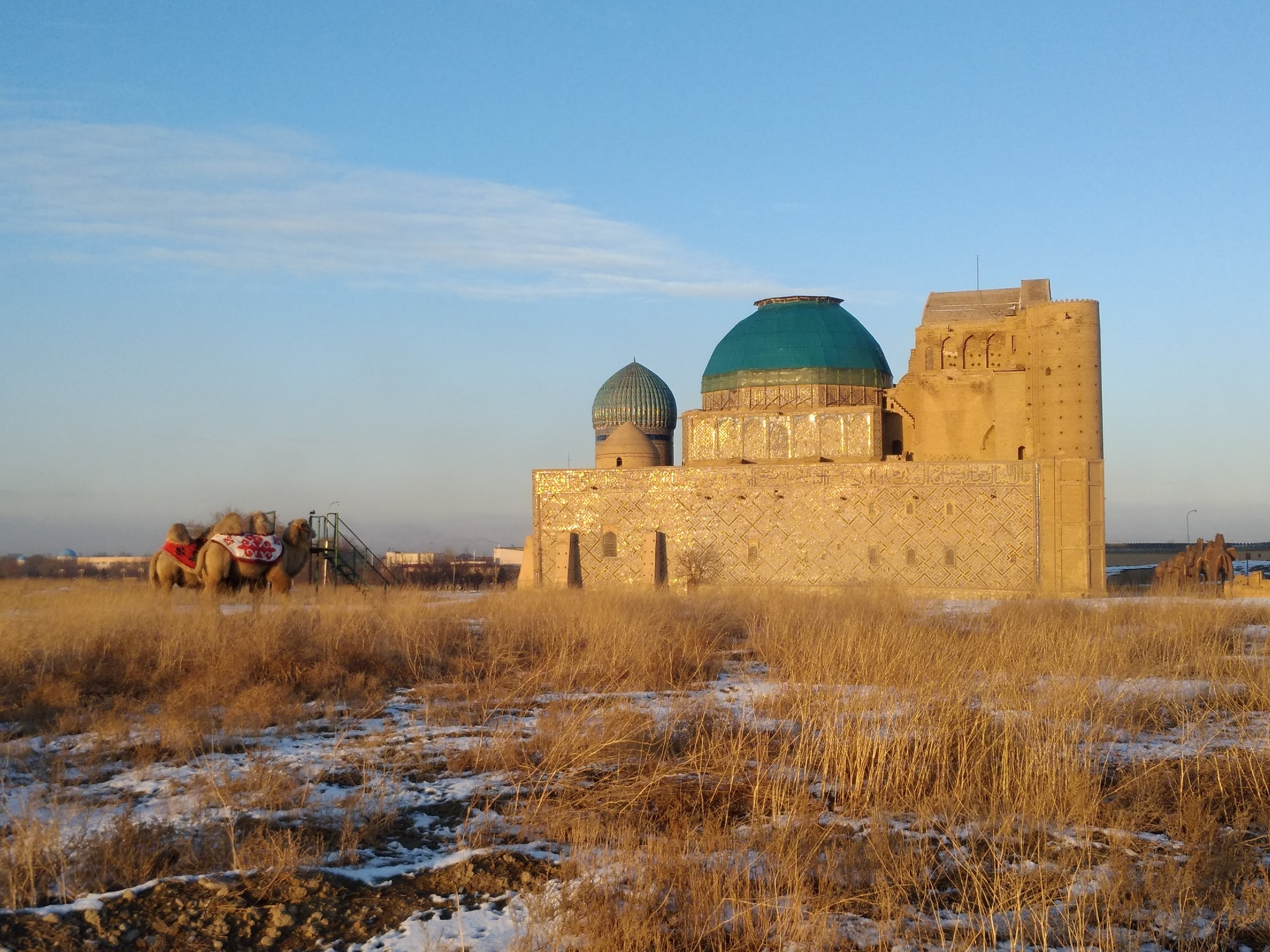 Mausoleum of Mausoleum of Khoja Ahmed Yassawi, Kazakhstan. View from south-west. Heritage Impact Assessment 2020
